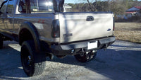 1999-2016 Ford F-450/550 Rear Base Bumper Without Sensor Holes - Iron Bull Bumpers - REAR IRON BUMPER - Metal bumper for heavy duty trucks Perfect for CITY/OFF-ROAD applications with Light Buckets and Winch Mount included
