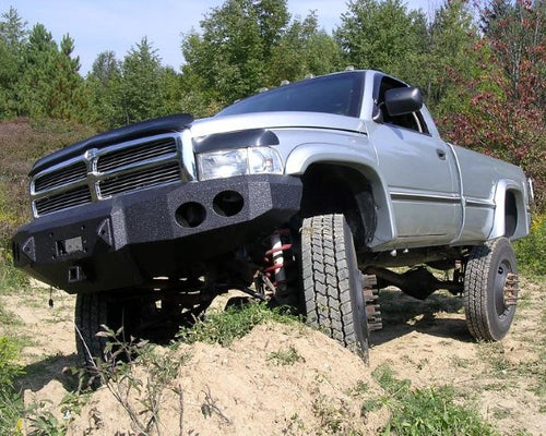 1994-2001 Dodge 1500 Front Base Bumper - Iron Bull Bumpers - FRONT IRON BUMPER - Metal bumper for heavy duty trucks Perfect for CITY/OFF-ROAD applications with Light Buckets and Winch Mount included