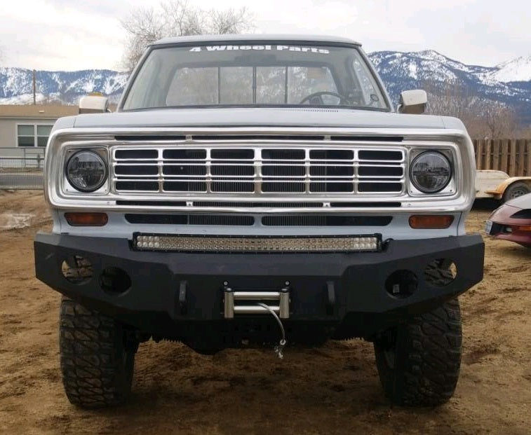 1981-1994 Dodge 1500 Front Base Bumper - Iron Bull Bumpers - FRONT IRON BUMPER - Metal bumper for heavy duty trucks Perfect for CITY/OFF-ROAD applications with Light Buckets and Winch Mount included