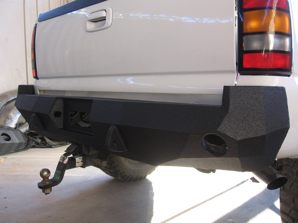 1999-2007 Chevrolet 1500/2500/3500 Rear Base Bumper - Iron Bull Bumpers - REAR IRON BUMPER - Metal bumper for heavy duty trucks Perfect for CITY/OFF-ROAD applications with Light Buckets and Winch Mount included