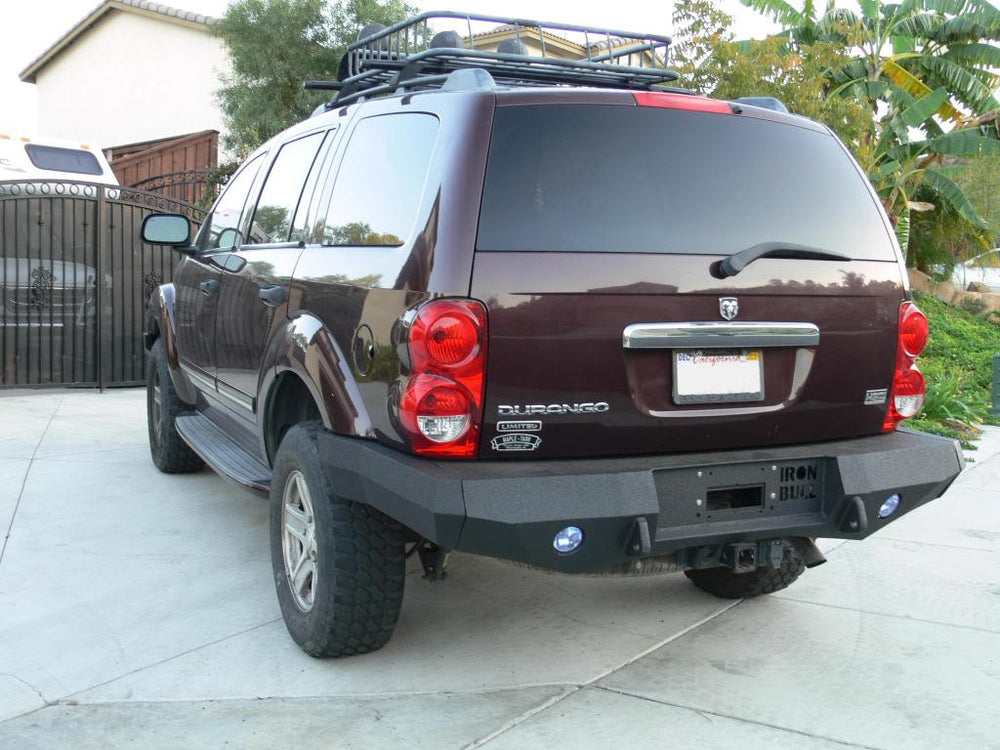 2004-2006 Dodge Durango Rear Base Bumper - Iron Bull Bumpers - REAR IRON BUMPER - Metal bumper for heavy duty trucks Perfect for CITY/OFF-ROAD applications with Light Buckets and Winch Mount included