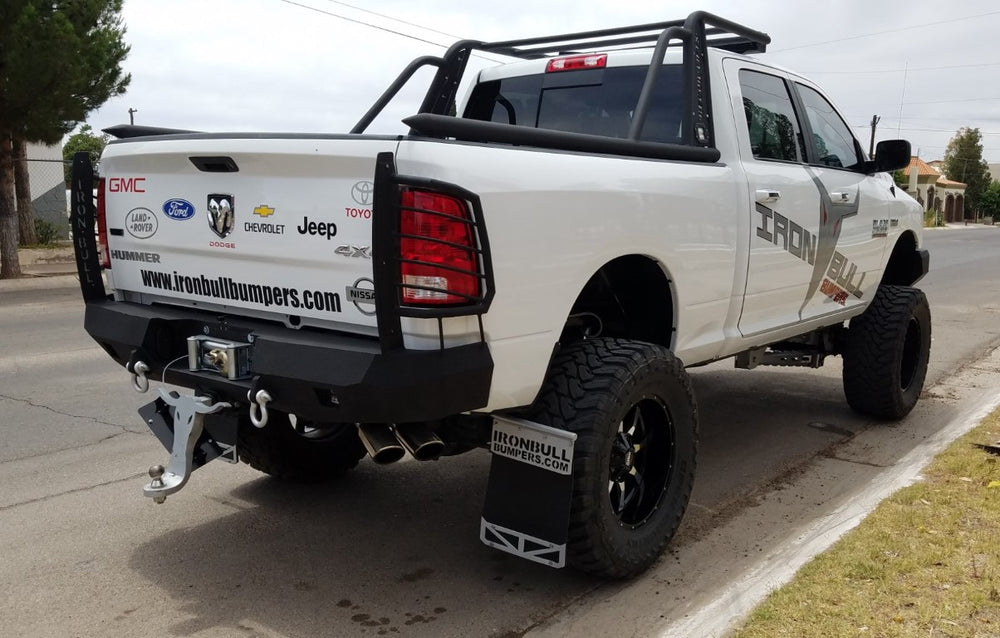 2010-2019 Dodge 2500/3500/4500 Rear Base Bumper With Sensor Holes - Iron Bull Bumpers - REAR IRON BUMPER - Metal bumper for heavy duty trucks Perfect for CITY/OFF-ROAD applications with Light Buckets and Winch Mount included