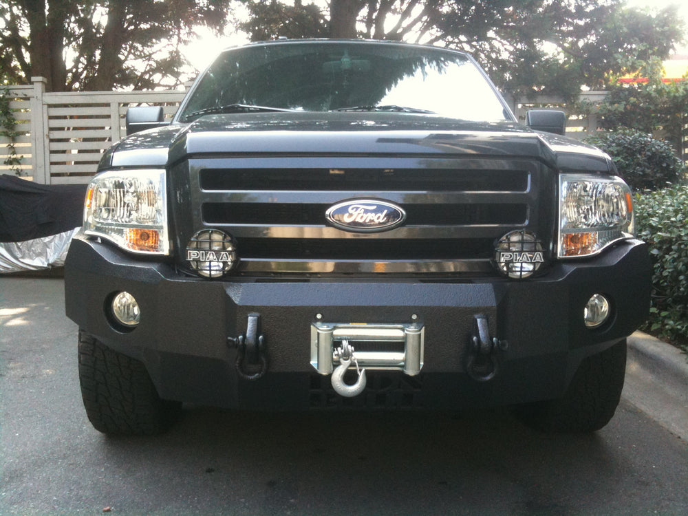 2007-2014 Ford Expedition Front Base Bumper - Iron Bull Bumpers - FRONT IRON BUMPER - Metal bumper for heavy duty trucks Perfect for CITY/OFF-ROAD applications with Light Buckets and Winch Mount included