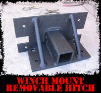 Add-on Winch Plate Mount Removable Hitch Receiver - IronBullBumpers - ADD-ON - Metal bumper for heavy duty trucks Perfect for CITY/OFF-ROAD applications with Light Buckets and Winch Mount included