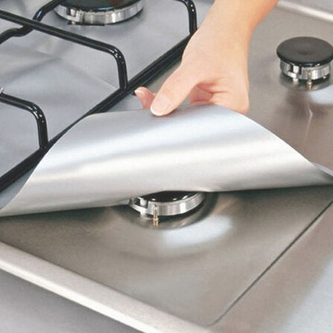 4pcs Reusable Glass Fiber Foil Gas Stove Burner