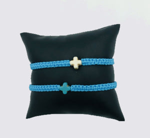Faux Suede Bracelets in Black Gold Trim