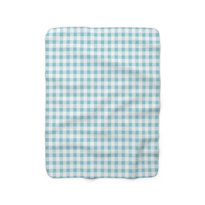 blue gingham sherpa fleece throw blanket