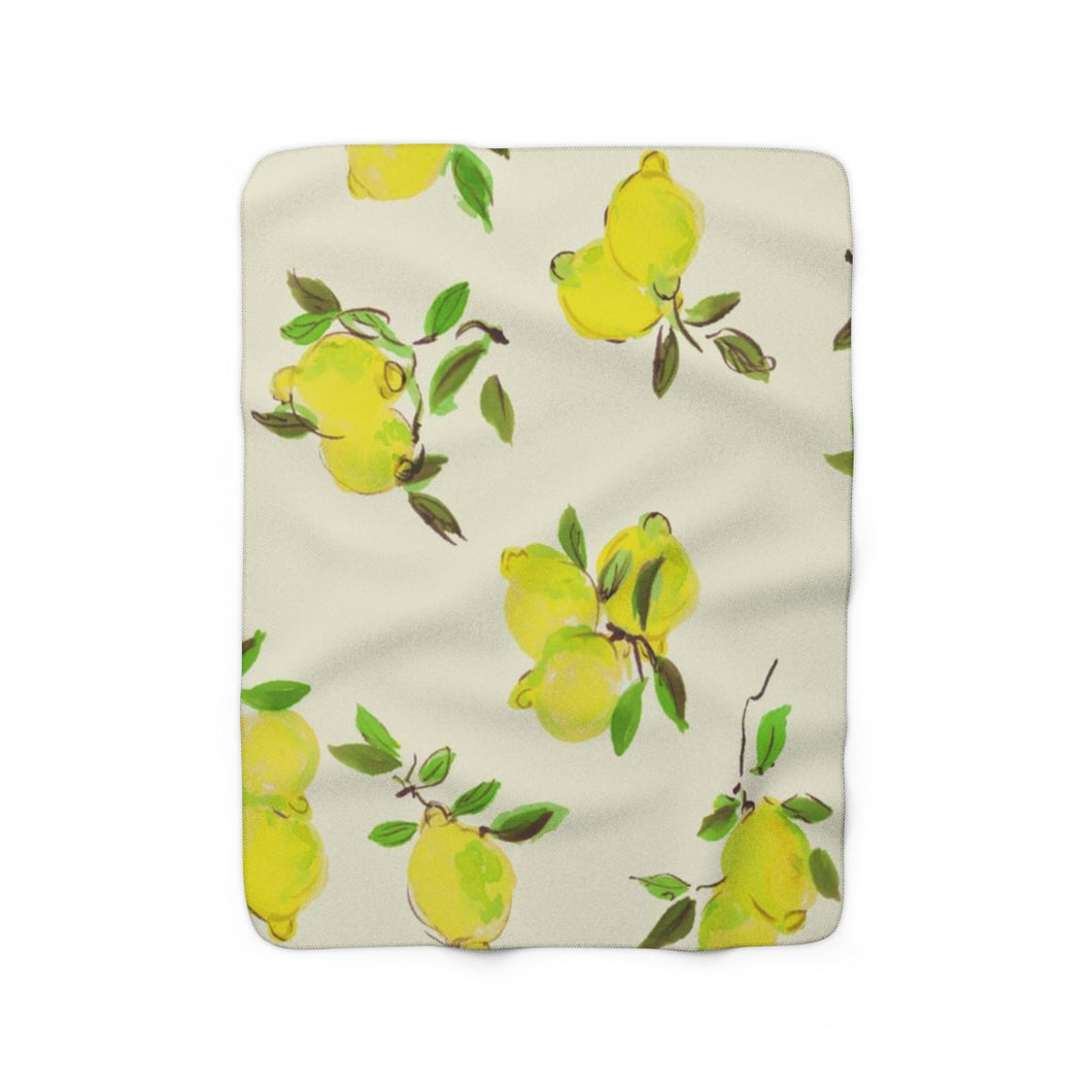 lemon sherpa fleece throw blanket
