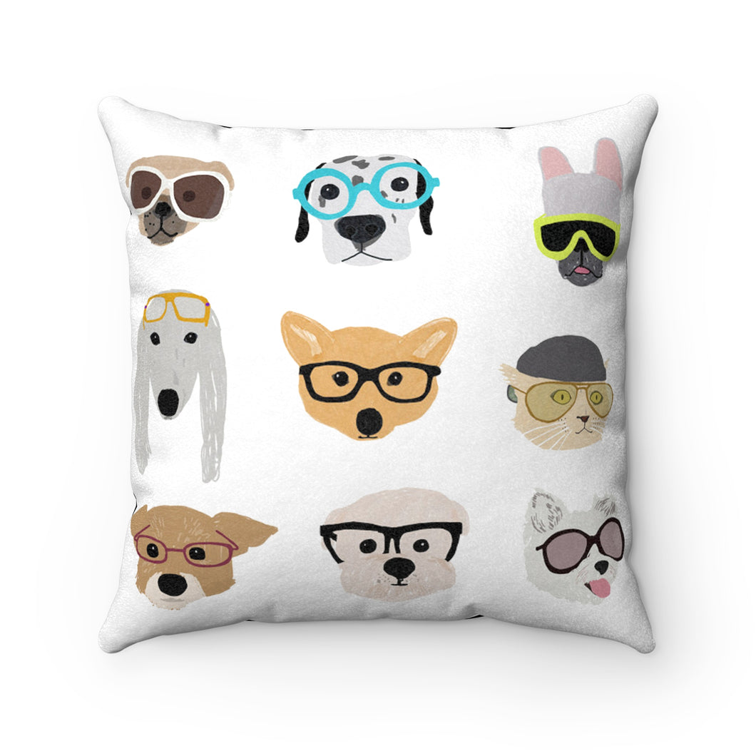 hipster dog faux suede pillow