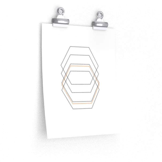 minimalist hexagon art print