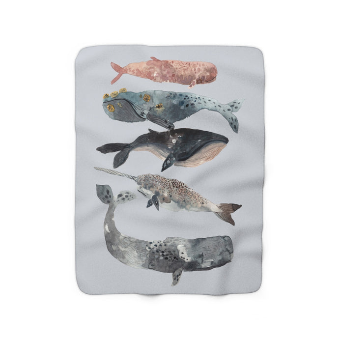 stacked whales sherpa fleece throw blanket