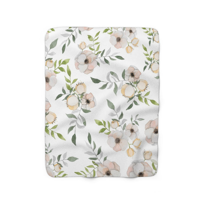 floral sherpa fleece throw blanket