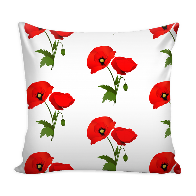 red poppy pillow cover