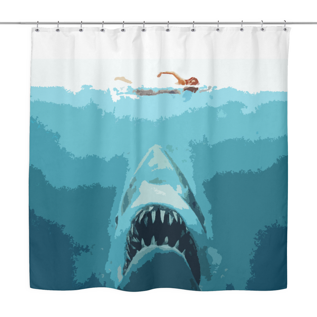 Jaws Pop Art Shower Curtain Crescent Clair