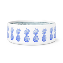 blue pineapple print pet bowl