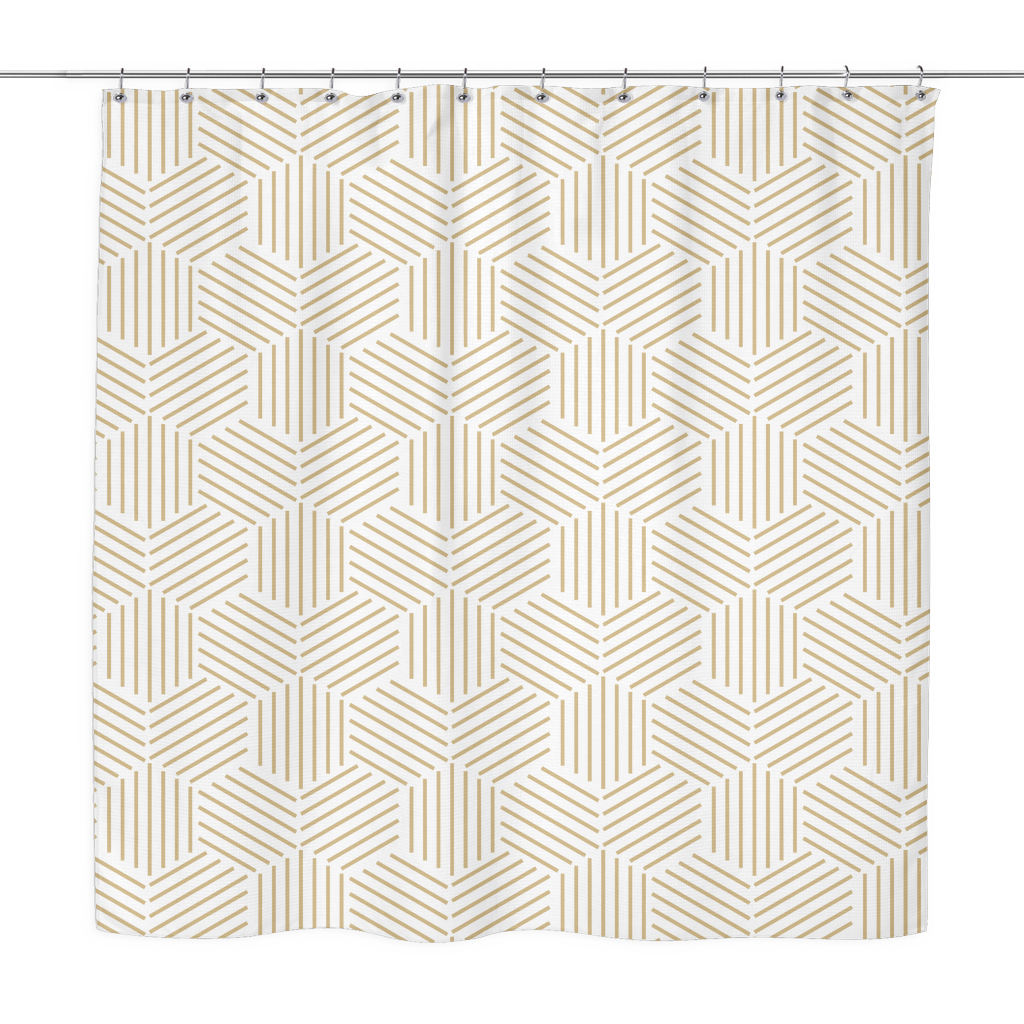 minimalist hive shower curtain