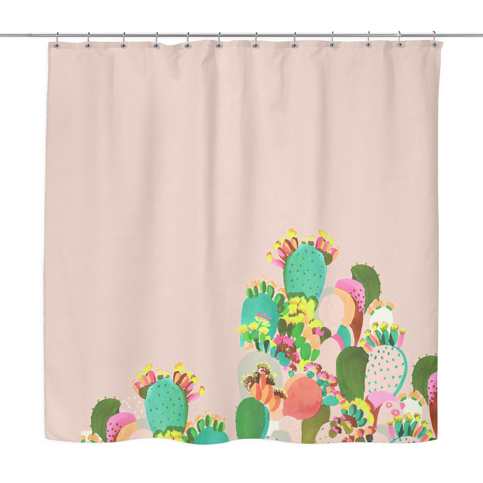 tropical cacti shower curtain