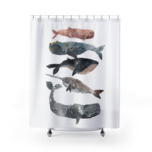 staked whales shower curtain 74""