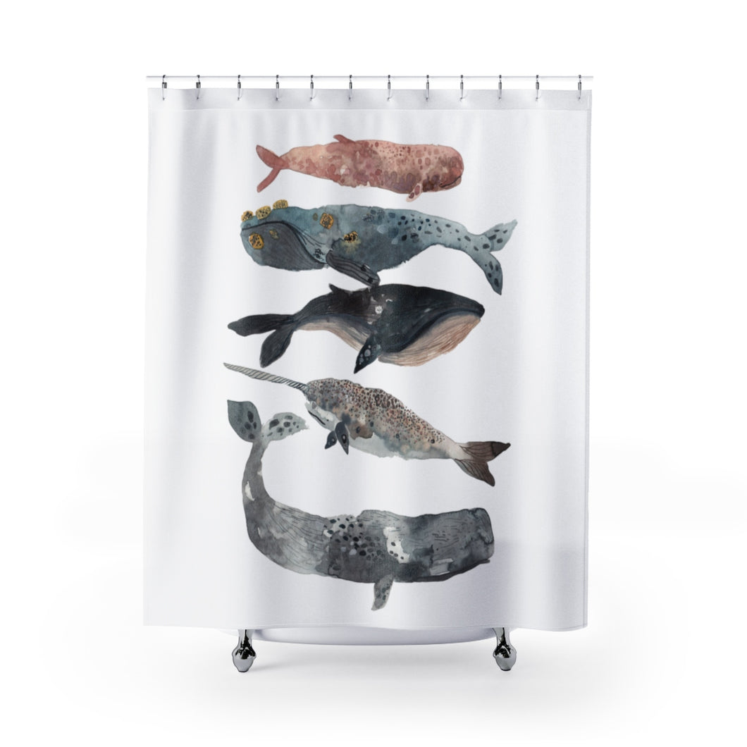 staked whales shower curtain 74