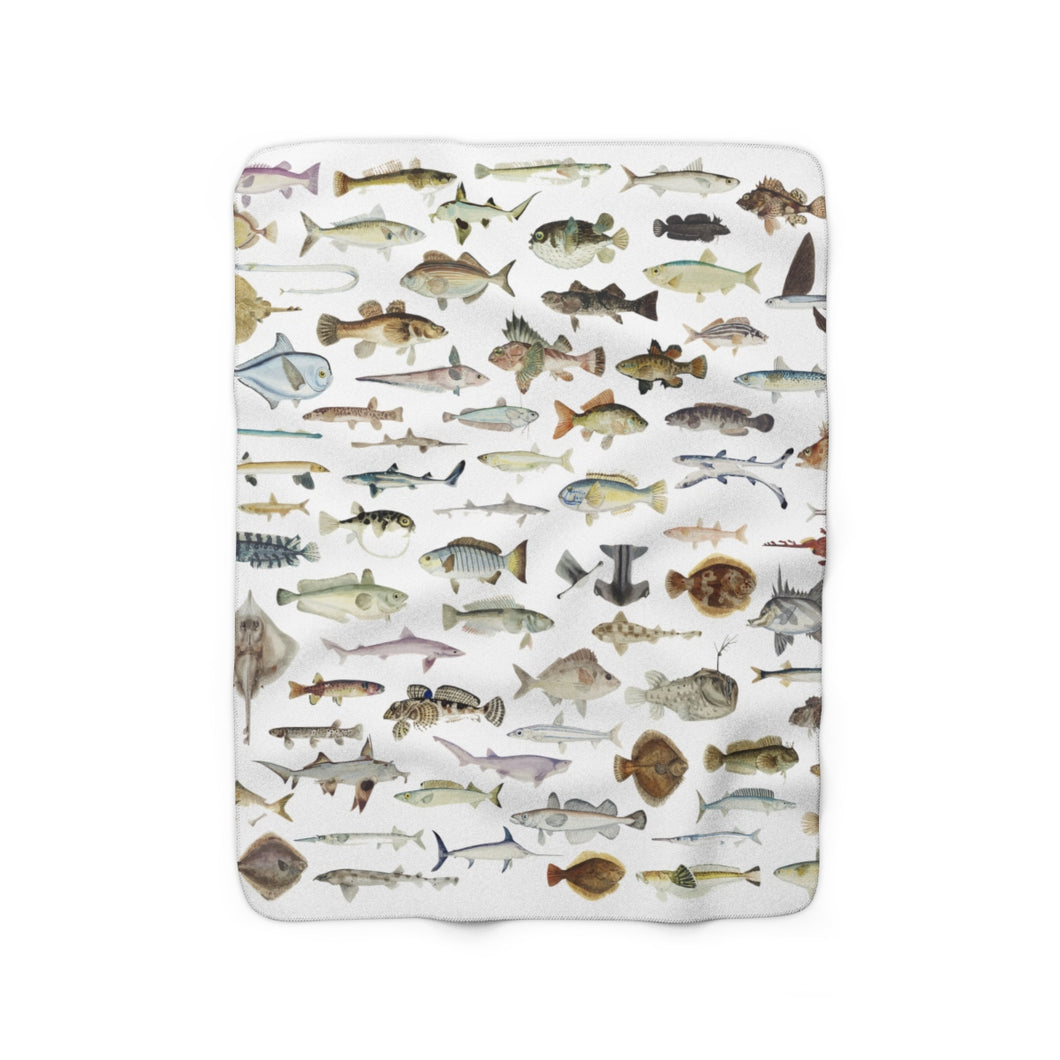 fish sherpa fleece throw blanket