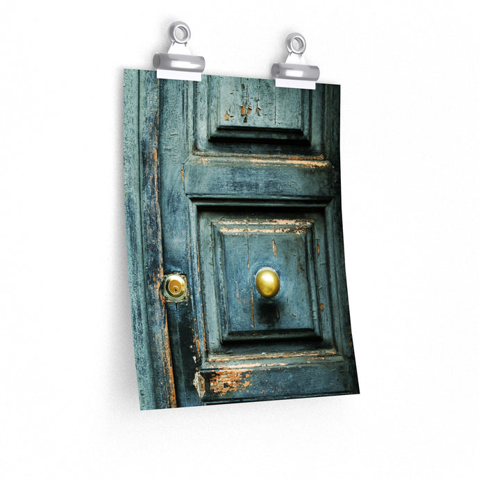 turquoise door photography print