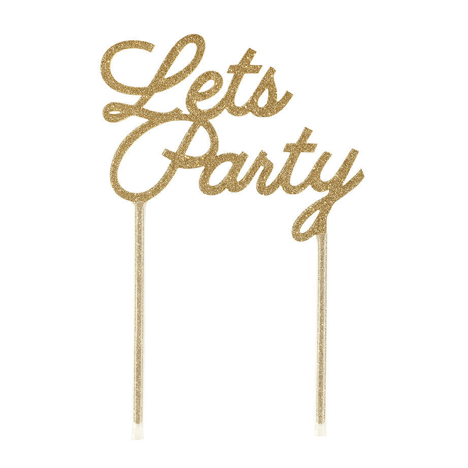let's party acrylic cake topper