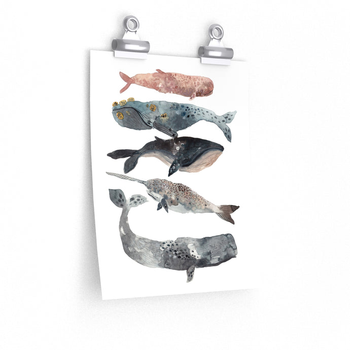 stacked whales art print