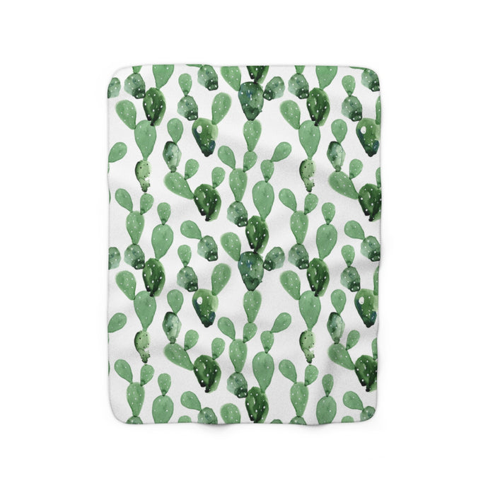 watercolour cactus sherpa fleece throw blanket