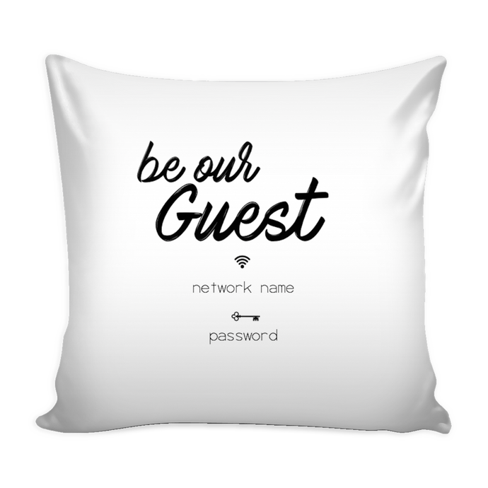 custom wifi guest pillow cover 16 X 16