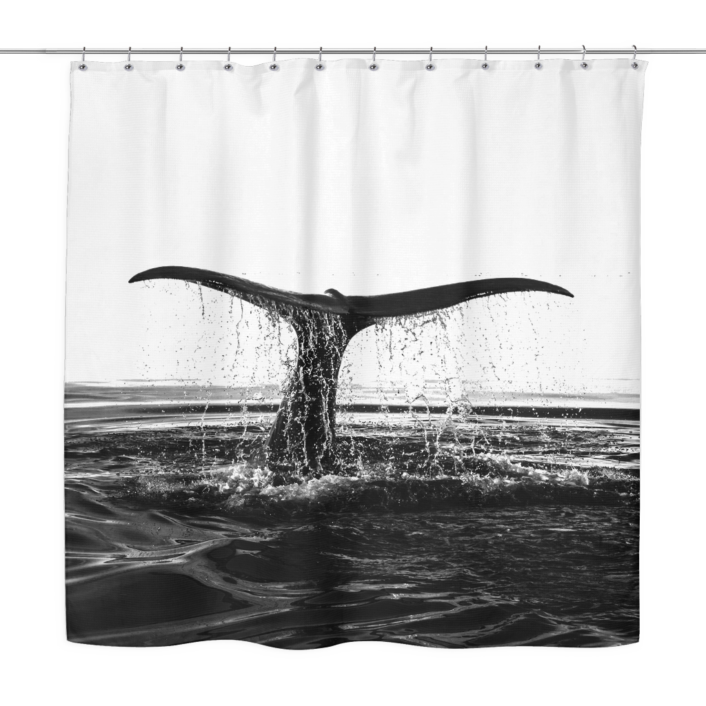 whale tail shower curtain