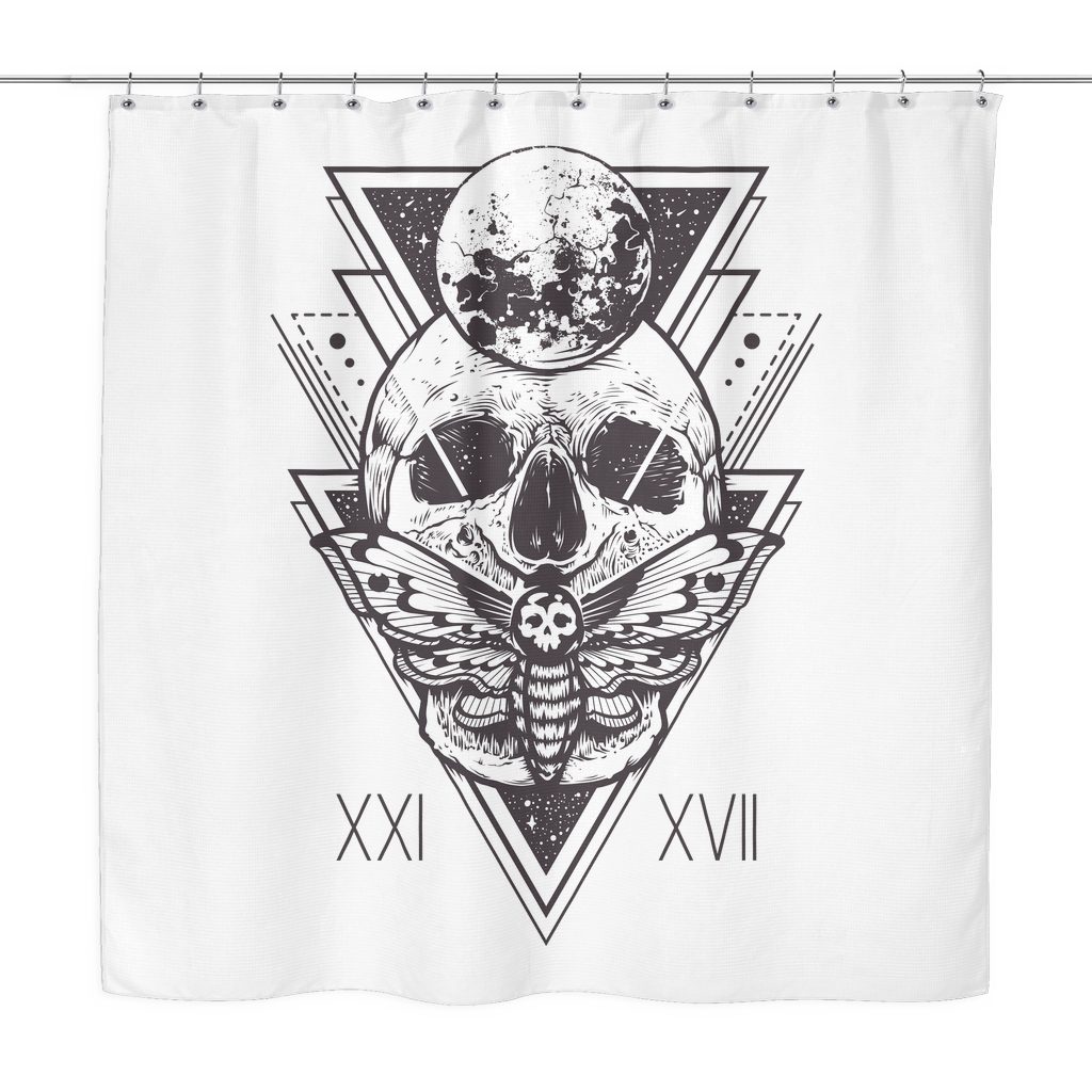 geo skull shower curtain