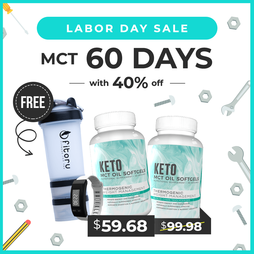 Labor Day Promo - MCT Softgels with 40% Off, FREE Shaker Bottle, FREE Tracker Bracelet