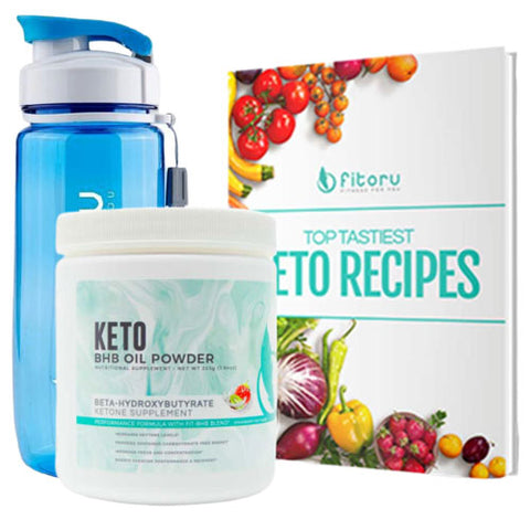 BHB Oil Powder - 1 Canister with Water Bottle & Top Tastiest Keto Recipes eCookbook