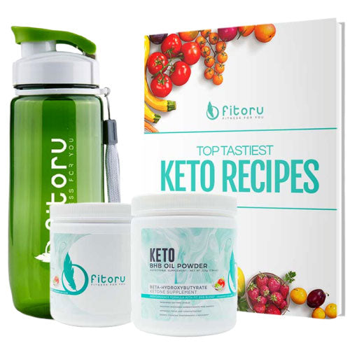 BHB Oil Powder - 2 Canisters with Water Bottle & Top Tastiest Keto Recipes eCookbook