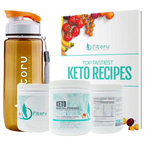 BHB Oil Powder - 3 Canisters with Water Bottle & Top Tastiest Keto Recipes eCookbook