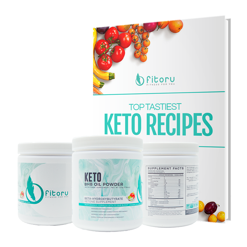 BHB Oil Powder - 3 Canisters + FREE Top Tastiest Keto Recipes eCookbook (Special Deal)