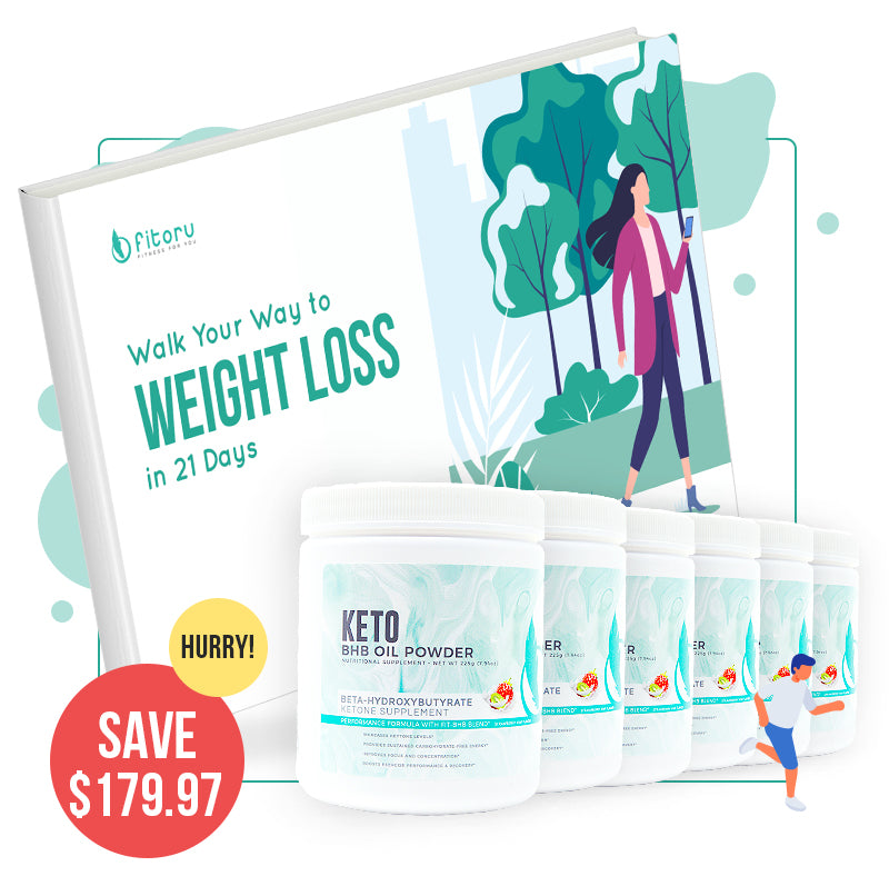 BHB Oil Powder - 6 Canisters 50% + FREE 21-Day Walking Plan