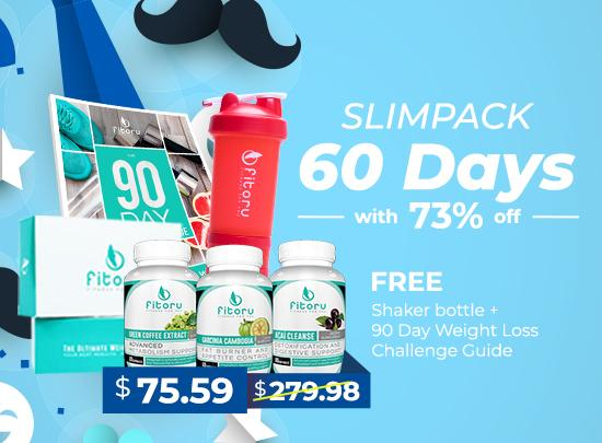 Father's Day Deal - Slimpack 60 Days Supply + FREE Fitoru Shaker Bottle + FREE 90 Day Weight Loss Challenge Guide (eBook)