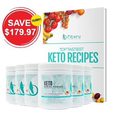 BHB Oil Powder - 6 Canisters with Water Bottle & Top Tastiest Keto Recipes eCookbook
