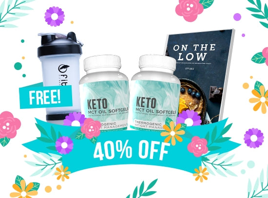 EXCLUSIVE FREEBIE - Flash Sale - MCT Oil Softgels 60 Days Supply + FREEBIES Fitoru Shaker Bottle + FREE On The Low Keto Recipe eCookbook