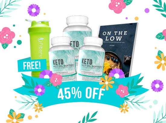 EXCLUSIVE FREEBIE - Flash Sale - MCT Oil Softgels 90 Days Supply + FREEBIES Fitoru Shaker Bottle + FREE On The Low Keto Recipe eCookbook