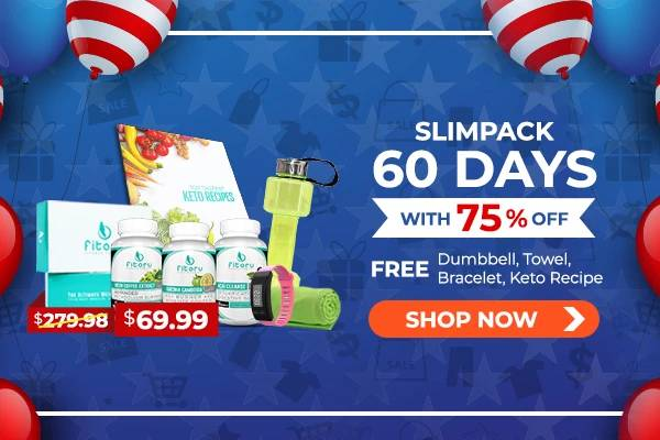 Memorial Day Sale 75% OFF + 4 FREEBIES - Slimpack 60 Days Supply, FREE Dumbbell Bottle, FREE Double Layer Towel, FREE Fitness Bracelet, FREE Top Tastiest Keto eBook