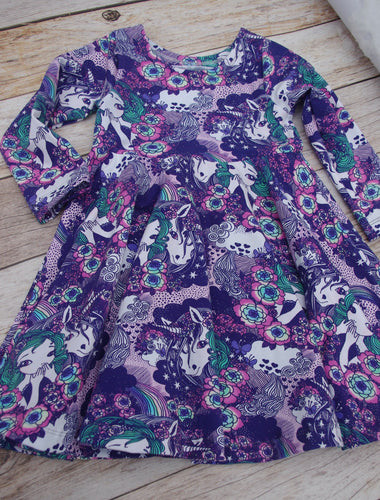 Infinity Dress - Magical Unicorns in Purple - Euro Organic cotton lycra jersey