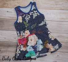 Custom size Peplum Top - Flowers on Blue