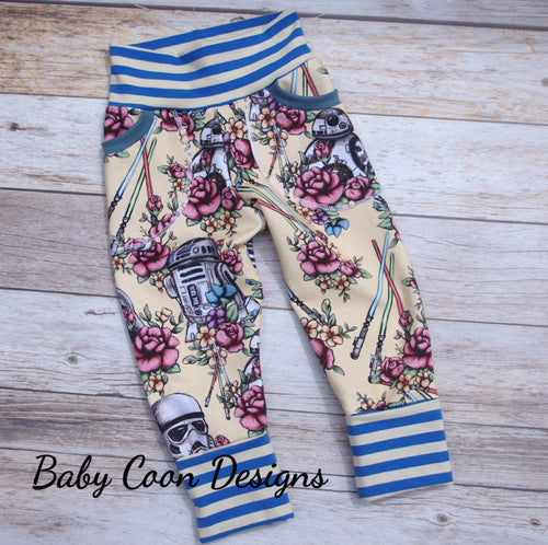 Grow with me Pants - Yellow Floral Wars, size 9 months - 4/5 years