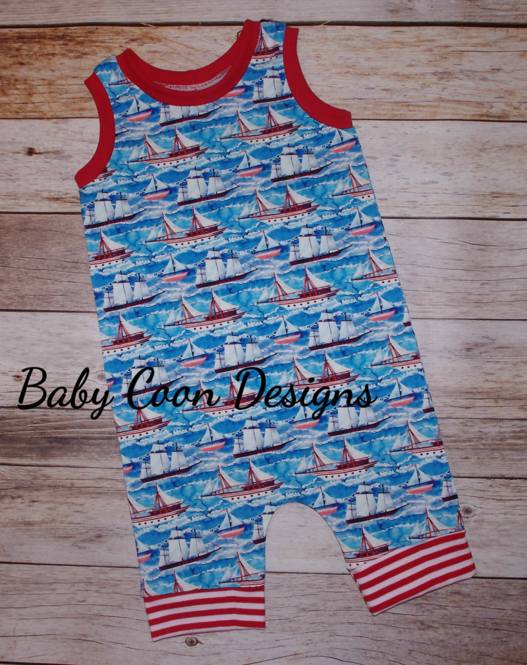 Pull-on Romper - Sail Boats,  size 2T/3T