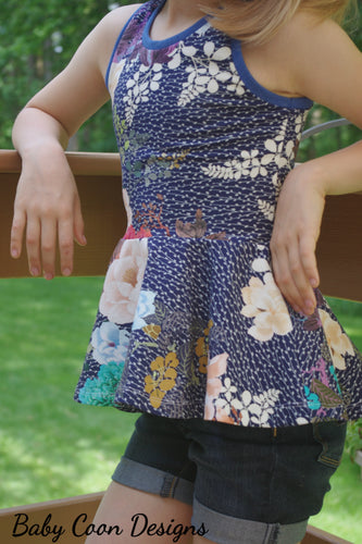 Carefree Peplum Top - Flowers on Blue, sizes 2T - 8