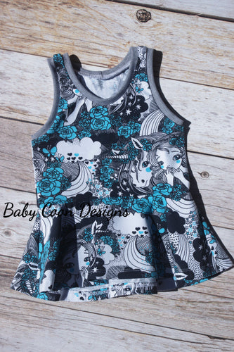 Carefree Peplum Top - Secrets on Blue, sizes 2T to 8