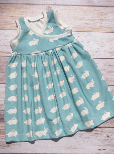 Custom size Organic Cotton Knit Cross-over Dress - Bunnies on Blue