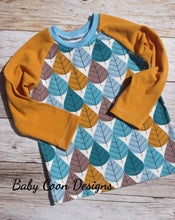 Raglan Tee - Autumn Leaves, sizes 9 months to 5T/6